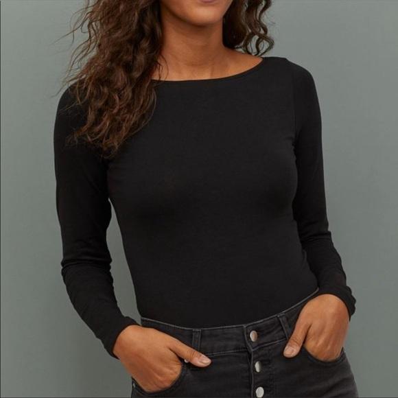 Sam Edelman Black Long Sleeve BoatNeck Bodysuit
